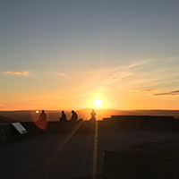 People watching the sunset from Signal Hill.
